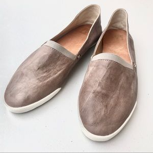 FRYE MELANIE SLIP ON GREY LEATHER FLAT LOAFERS